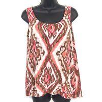 J Jill S tank top linen knit Ikat print blouse sleeveless tunic brown pink white