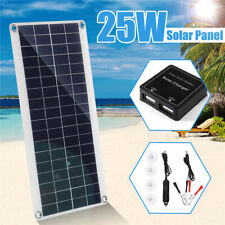 25W Dual USB/DC Flexible Solar Panel Efficient Car Battery Charge Camping 12V