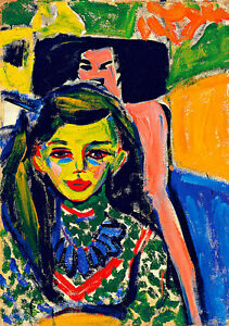 Franzi in front of Carved Chair A1 by Ernst Ludwig Kirchner Quality Canvas Print