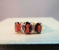 CIO 14k Yellow Gold Oval Red Garnet Ring 4 Diamonds 7mm Gem Size 7.25 Band 2.56