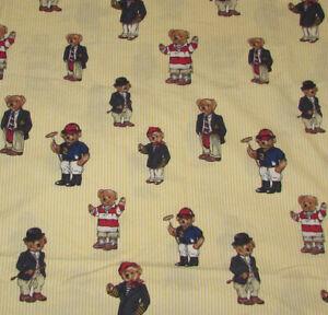 Vintage Ralph Lauren Polo Teddy Bear Yellow Striped Twin Flat Sheet Rare