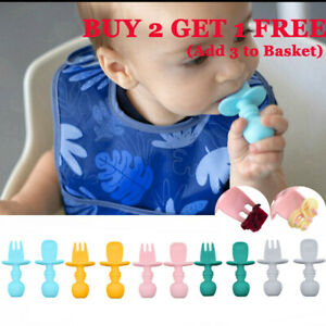 Baby Spoon&Fork Toddler Utensils Self Feeding Training Silicone Cutlery Tool Set