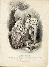 CAVALIER KING CHARLES ENGLISH TOY SPANIEL ANTIQUE DOG PRINT ENGRAVING - French
