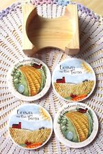 4 Cypress Stone Coasters GROWN ON THE FARM Absorbent Wood Caddy Box