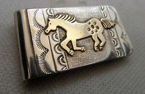 Robert Johnson Sterling Silver 12K Gold Filled Money Clip Horse Navajo Native