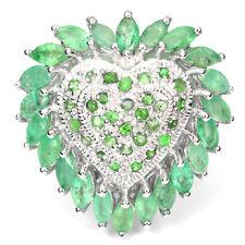 Großer Ring Herz Smaragd Tsavorit 925 Silber 585 Weißgold Gr. 59