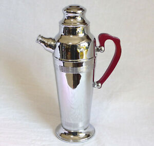 "Vintage 1940s Art Deco CHROME 48 Oz MARTINI DRINK SHAKER 13"" Red Bakelite Handle"