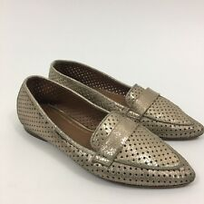 Donald J. Pliner Women's Metallic Ava Perforated Pointed Toe Flat Shoes Size 7M