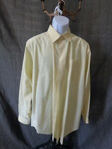 Men's Sz 17.5 35 Daniel Cremieux Classic Fit Yellw Plaid Button Down Dress Shirt