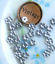 #673K Vintage Glass Beads Czech 5mm Spacers Silver Flowers Small Daisy Lochrosen
