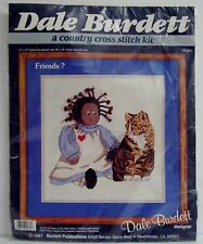Dale Burdett Friends? African American Rag Doll Tabby Cat Cross Stitch Craft Kit