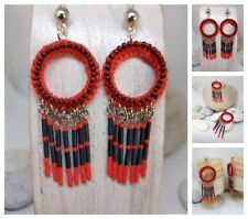 Pendientes artesanales rojos,macramé y miyuk i/ Handmade earrings red,boho style