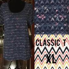 New LulaRoe Classic T Size XL Blue White Pink Teal Print NWT