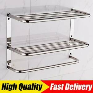 Wall Mounted Towel Rail Bar Holder Shelf Bathroom Storage Rack Stainless Steel