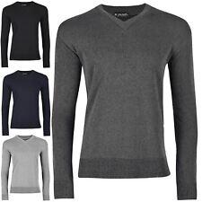 Mens Fine Guage V Neck Sweatshirt Sweater Rib Long Sleeve Cuffed Jumper Tee Top