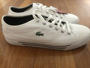 Men's Lacoste White with Green Stripe Canvas Sneakers Size 12 New