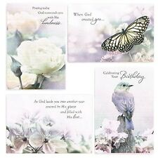 Christian Boxed Birthday Cards Touch of Color Birds/Flowers KJV Scripture 37363