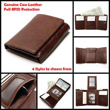 Mens Slim Wallet Money Sleek RFID Blocking Credit Card Holder Genuine Leather