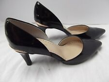 ADRIENNE VITTADINI HEEL shoe BLk PATENT LEATHER POINT TOE 8.5 gold metal Clare