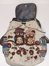 Vintage OWL Couple  Print Women's Canvas Colorful Backpack