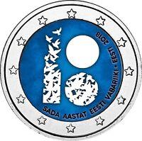Estland 100 Jahre der Gründung der Republik 2 Euro Münze 2018 in Farbe