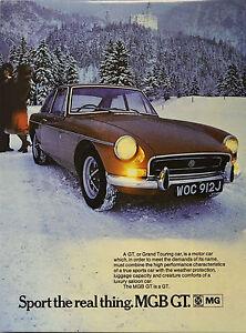 MGB GT advert print, boxed