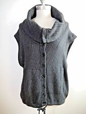 INHABIT gray black cashmere and cotton button front cardigan sweater size L