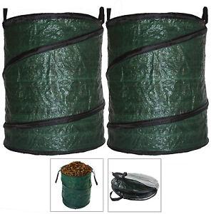 Garden Waste Bag Large Reusable Leaf Collection Leaves Collapsible Pop-Up 90L x2