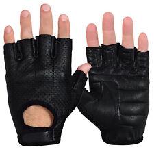 Max5 Men's Fingerless Motorcycle Gloves Perforated Handback Driving Biker Glove