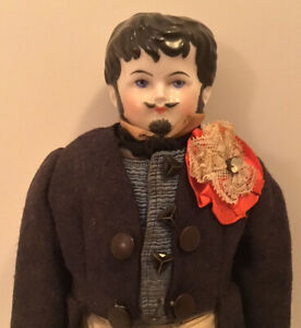 ANTIQUE CHINA HEAD BOY MAN DOLL ELABORATE HAIR MUSTACHE GOATEE WOOL JACKET 13""