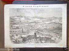 1865 FIRENZE VEDUTA PANORAMICA FLORENCE CITTA' FIUME ARNO STAMPA ENGRAVING D45
