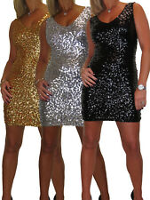 Ladies Stretch Mini Sequined Dress V Neck Chistmas Winter Party Sizes 8-14