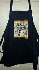 OCD obsessive cat disorder navy blue apron