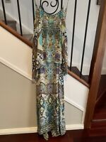 CAMILLA LADIES STRAPPY SILK BEADED LONG DRESS SIZE 10 GREAT CONDITION