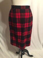 Vintage Pendleton Wool Plaid Skirt Red Black Size 14