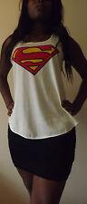 SUPERMAN T-Shirt Vest Tank TOP Ladies Girls New SUPER HERO TSHIRT BATMAN COMIC