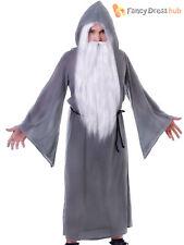 Adults Grey Wizard Cloak Halloween Gandalf Magician Fancy Dress Costume Outfit