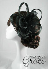 Charlie black fascinator headpiece hat wedding bridal races clip Melbourne Cup