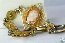 Antique 800 Sterling Silver Filigree Cameo Bracelet