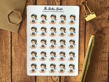 Study Planner Stickers - Computer Brown Hair Girl Stickers, Erin Condren