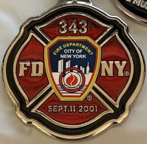 9/11 MEMORIAL KEYCHAIN Maltese Cross Engine 343 SEPTEMBER 11, 2001 911 FDNY Logo