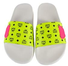 New MCM Women's Neon Yellow Canvas Visetos Logo Slides Sandals Shoes 37 7