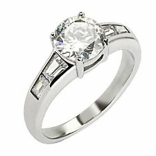 Zirconia Stainless Steel Wedding Band Solitaire w Accents Engagement Ring Cubic