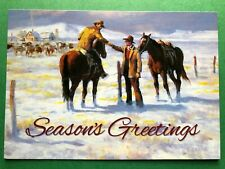 Leanin' Tree Christmas Card - Ranchers Greeting Each Other Theme - Id#589