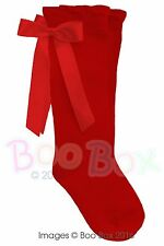 Baby Girls & Girls Pex Knee High Satin Ribbon Bow Socks UK NB(EU15)-7(EU40)