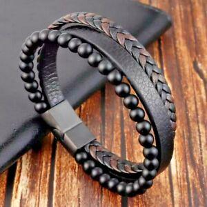 "Stainless Steel Volcano Lava & Natural Stone Men's Bracelet Leather 21cm 8.25"""