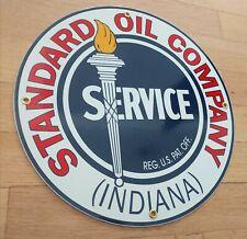 Standard of Indiana Oil gas Gasoline Porcelain Advertising Sign