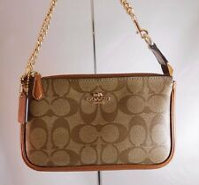 Coach Signature Tan/Camel Large PVC/Leather Wristlet/Small Purse with Gold Chain