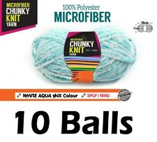 10 x Microfiber Knitting Chunky Yarn 3 Ply 100g White Aqua Mix Colour Brand New