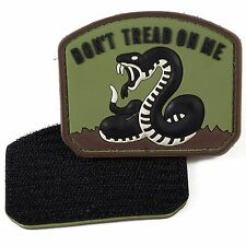 PVC Morale Patch Don't Tread On Me Brown 3D Badge Hook #22 Paintball
